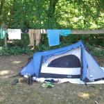 Zelt und Trockner aufgebaut