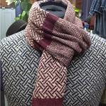 Ruby & Stone Geometric Patterned Scarf, Recycled yarn