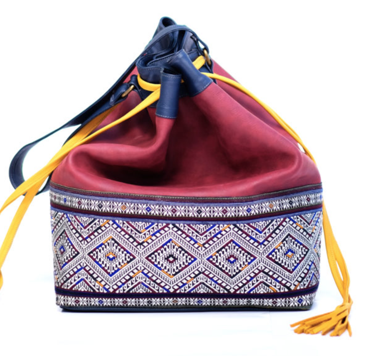 Fusion bucket bag handwoven silk art