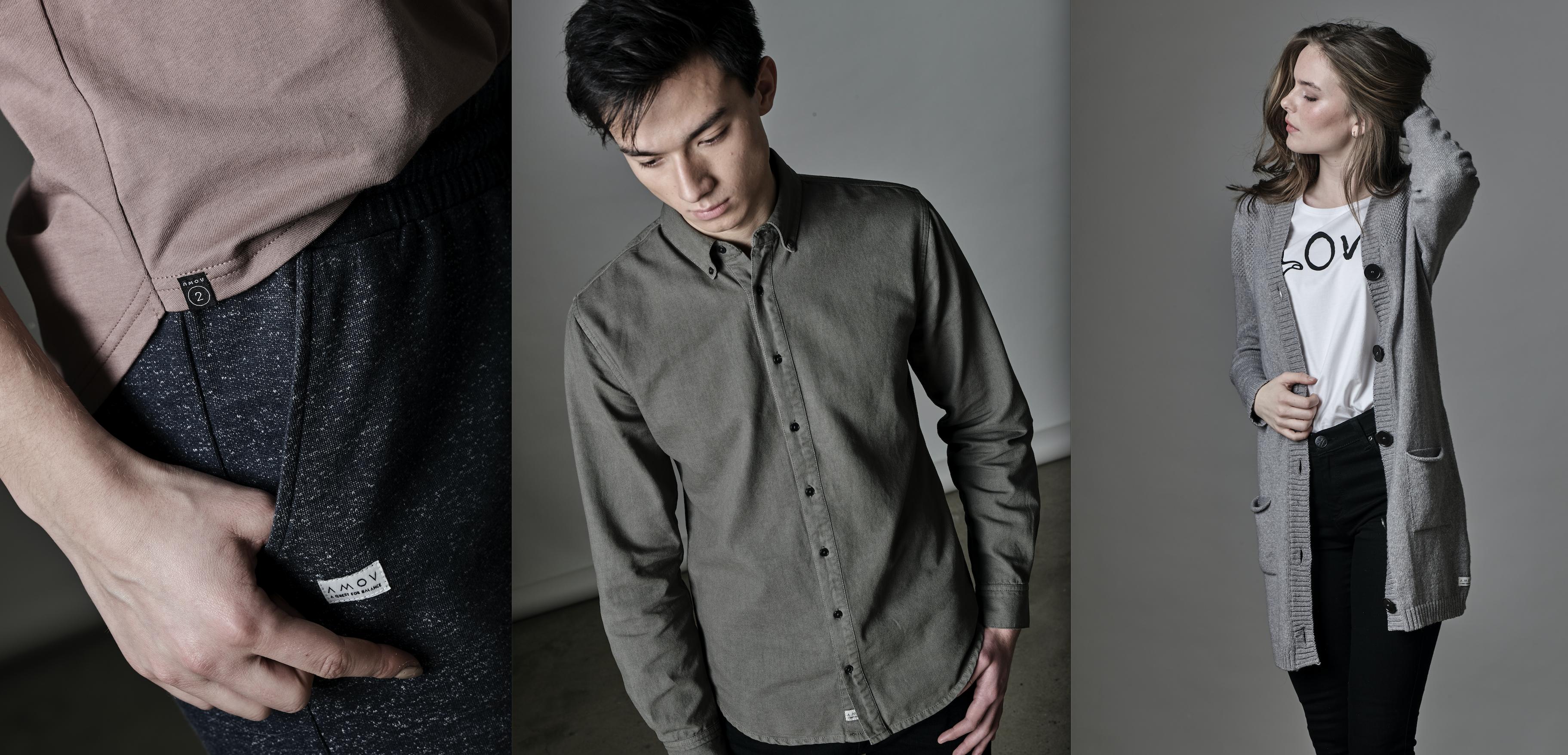 AMOV Label Detail Dyed Shirt Cardigan